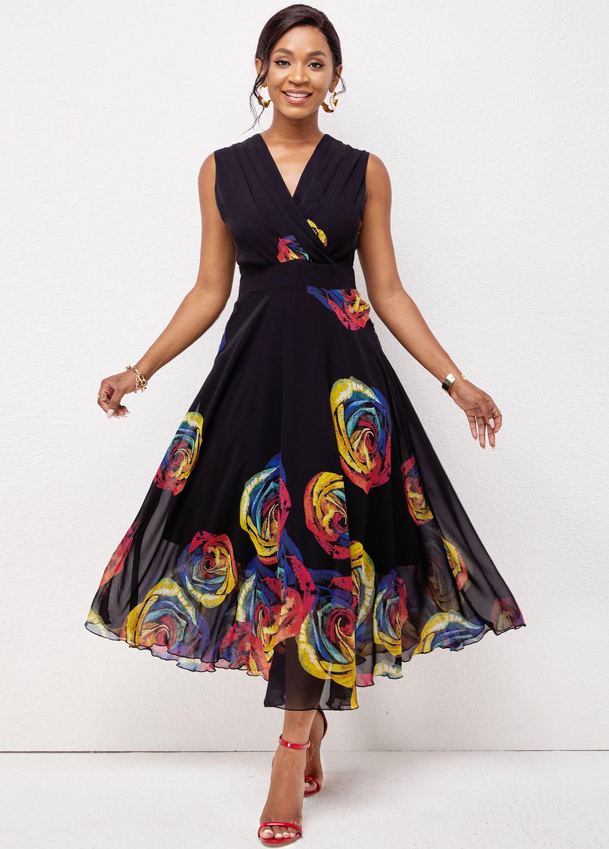 ROTITA V Neck Floral Print Sleeveless Dress