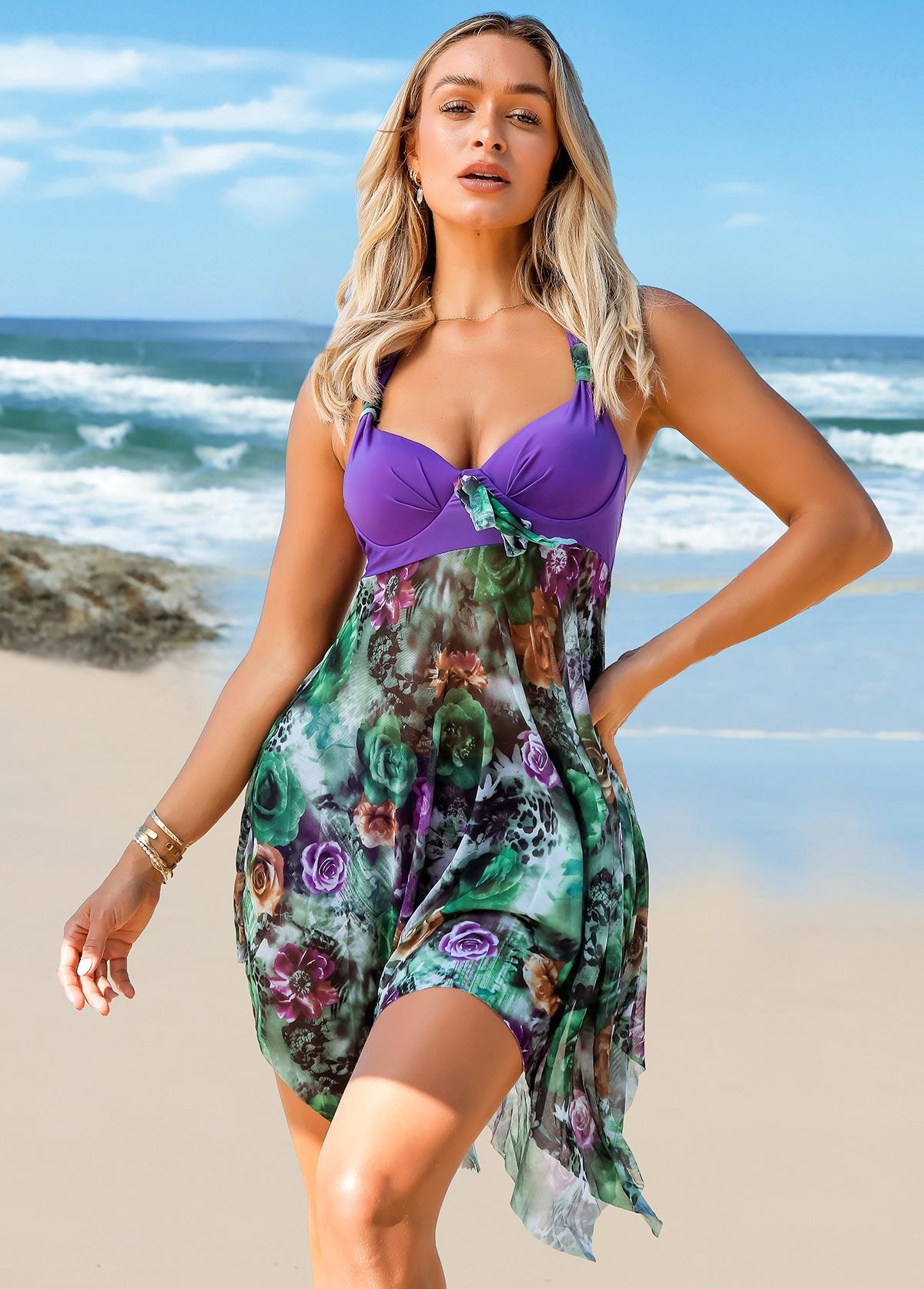 ROTITA Asymmetric Hem Floral Print Halter Swimdress and Panty