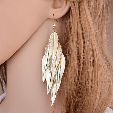 Baroque Design Leaf Design Gold Earring Set