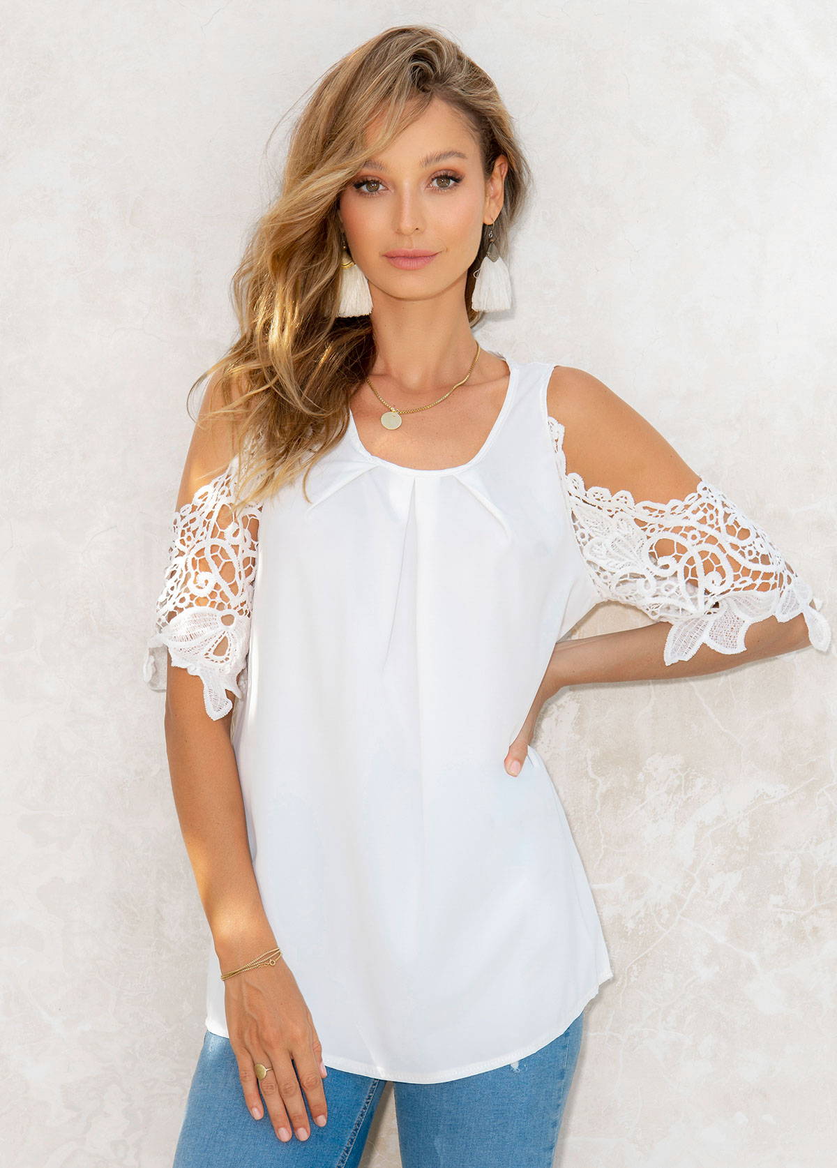 Solid Cold Shoulder Lace Stitching 3/4 Sleeve T Shirt