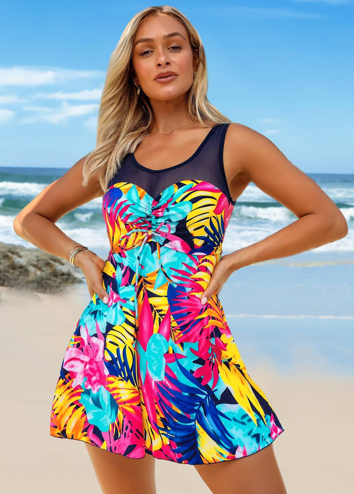 ROTITA Leaf Print Center Shirred Mesh Stitching Swimdress and Shorts