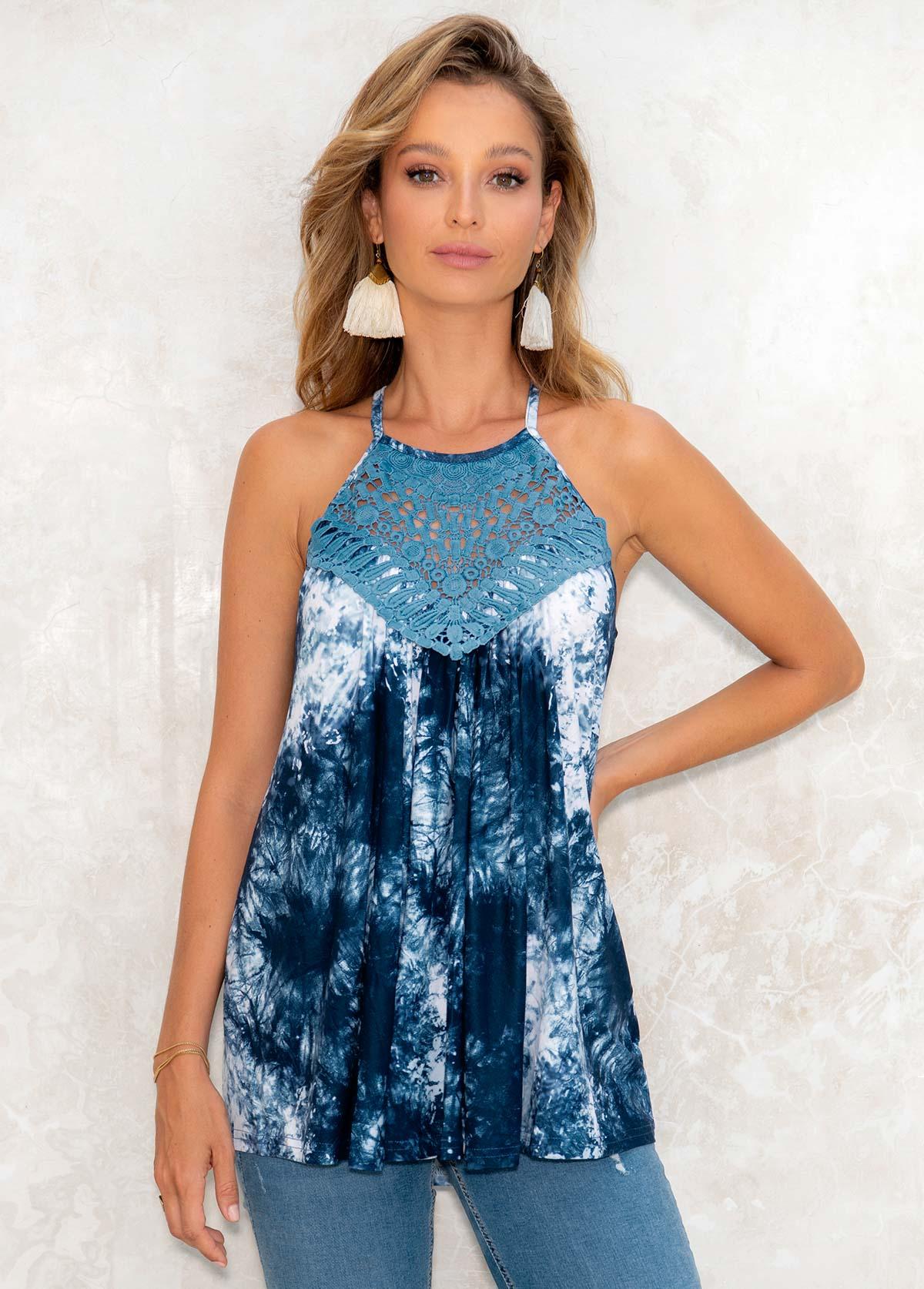 Lace Stitching Tie Dye Print Cutout Tank Top