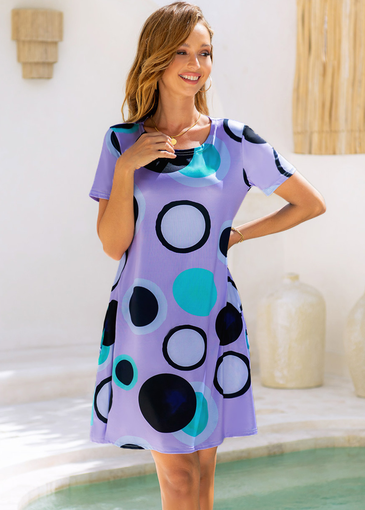 ROTITA Polka Dot Round Neck Short Sleeve Dress