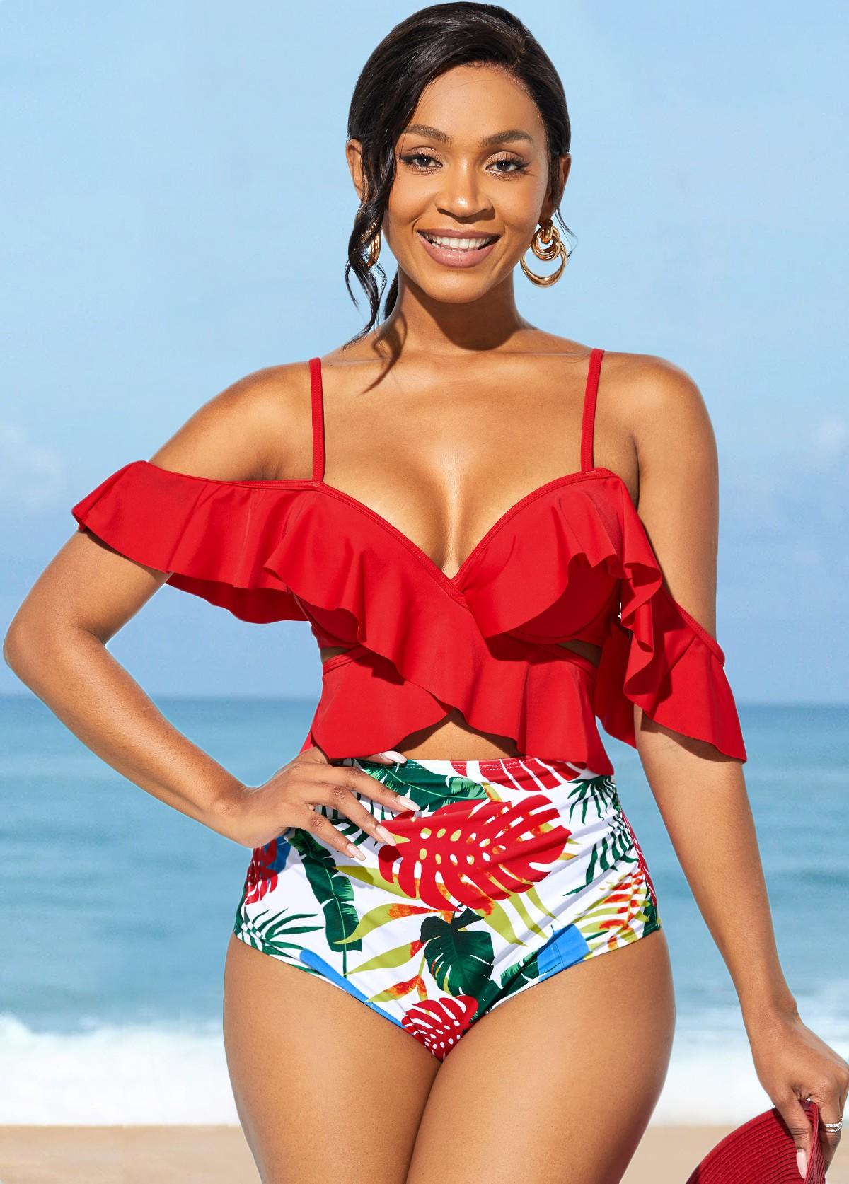 Spaghetti Strap Flounce High Waisted Bikini Set