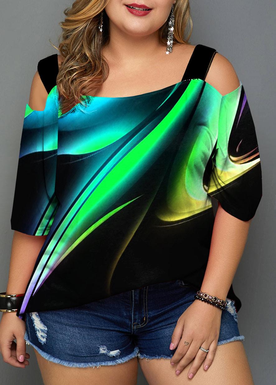 ROTITA Cold Shoulder Plus Size Ombre T Shirt