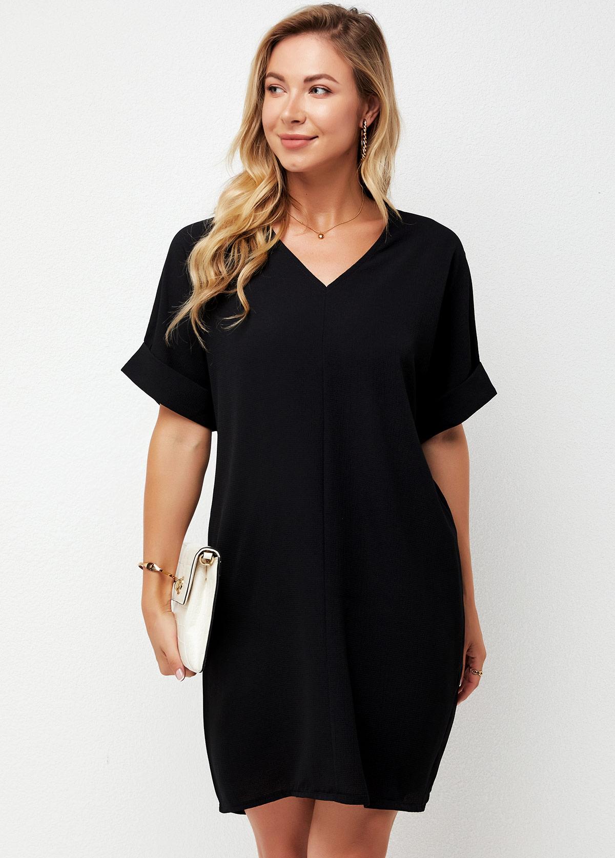 V Neck Black Short Sleeve Dress