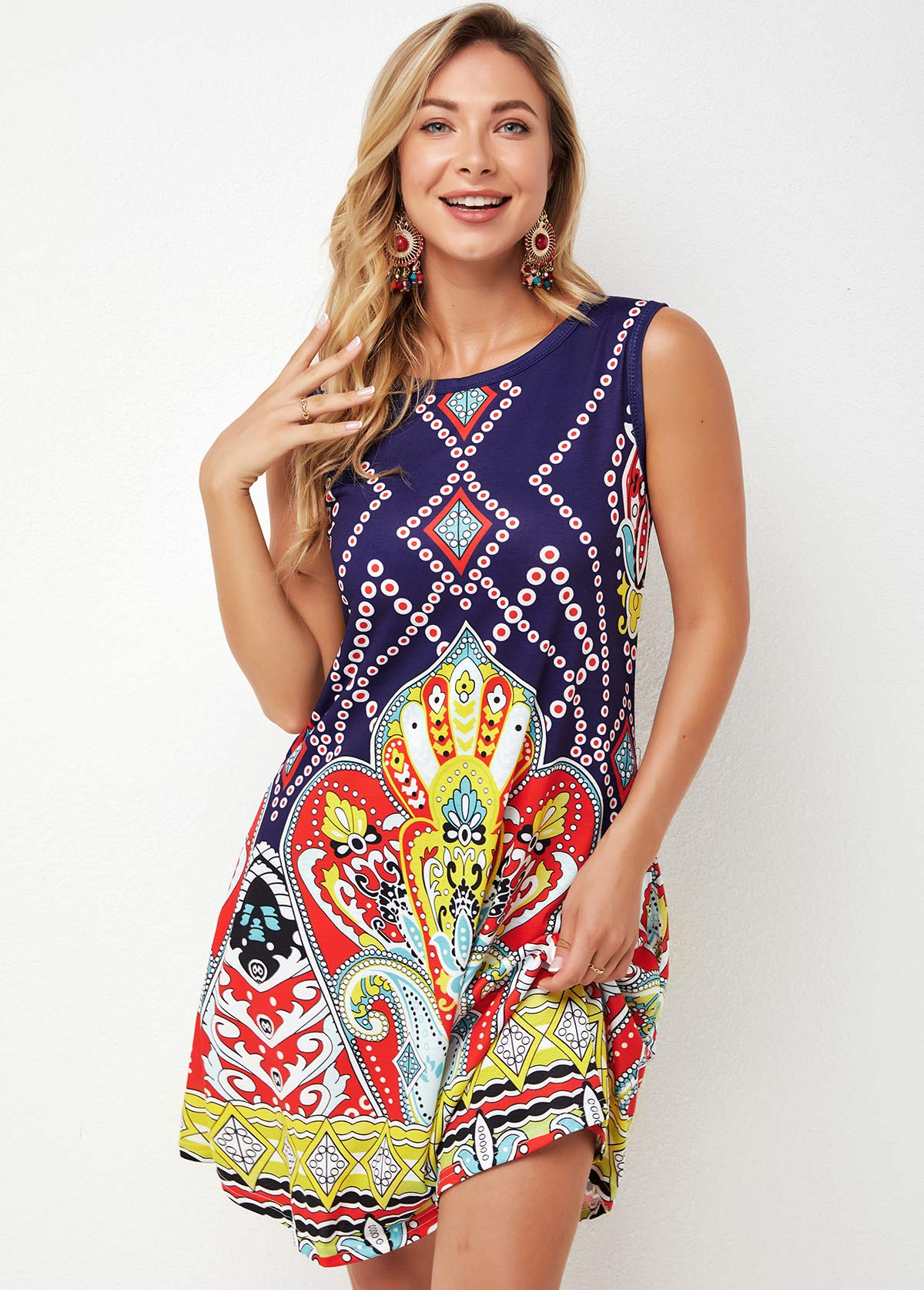 Round Neck Tribal Print Multi Color Dress