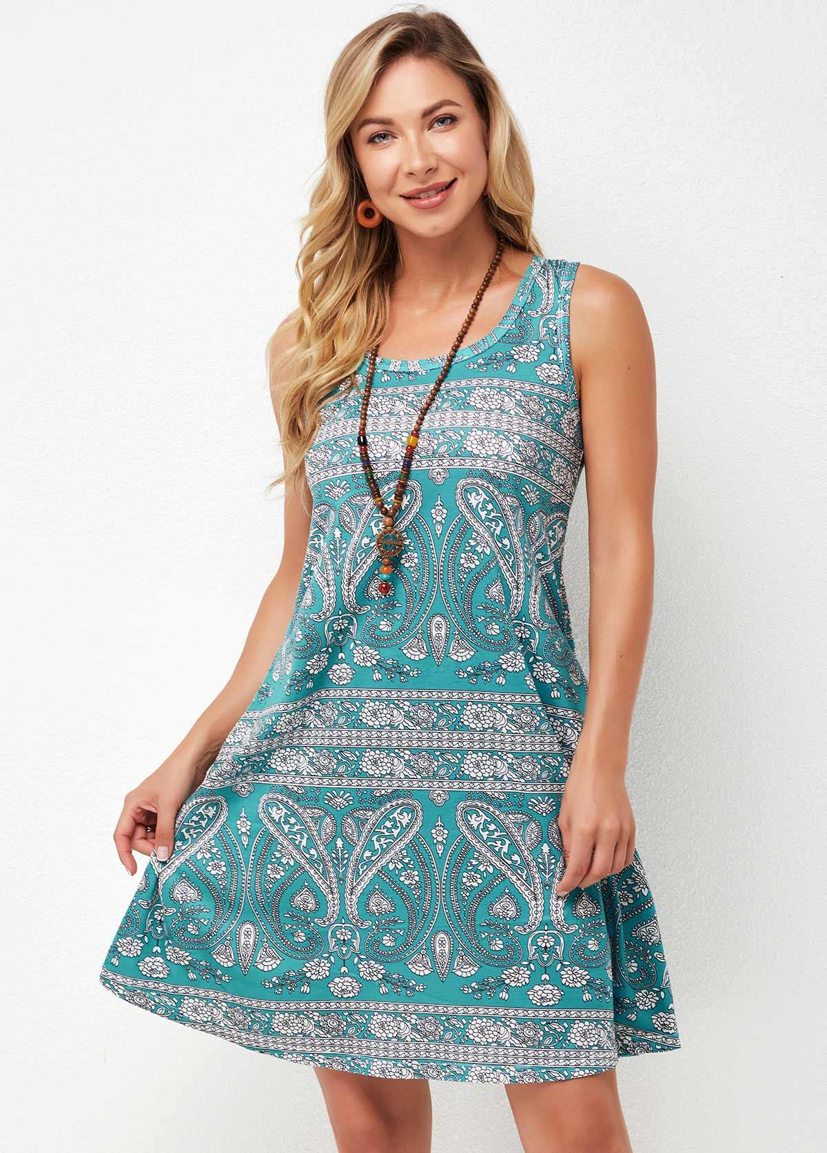 Tribal Print Wide Strap A Line Dress