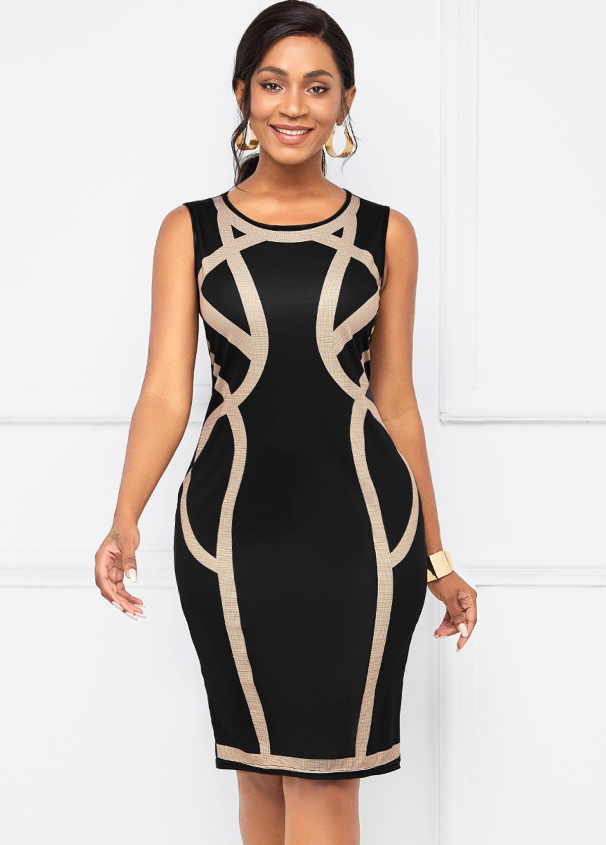 ROTITA Sleeveless Contrast Round Neck Bodycon Dress