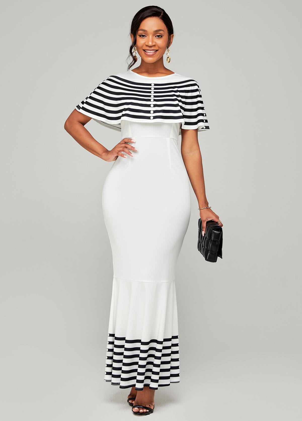 ROTITA Striped Cape Sleeve Round Neck Mermaid Dress