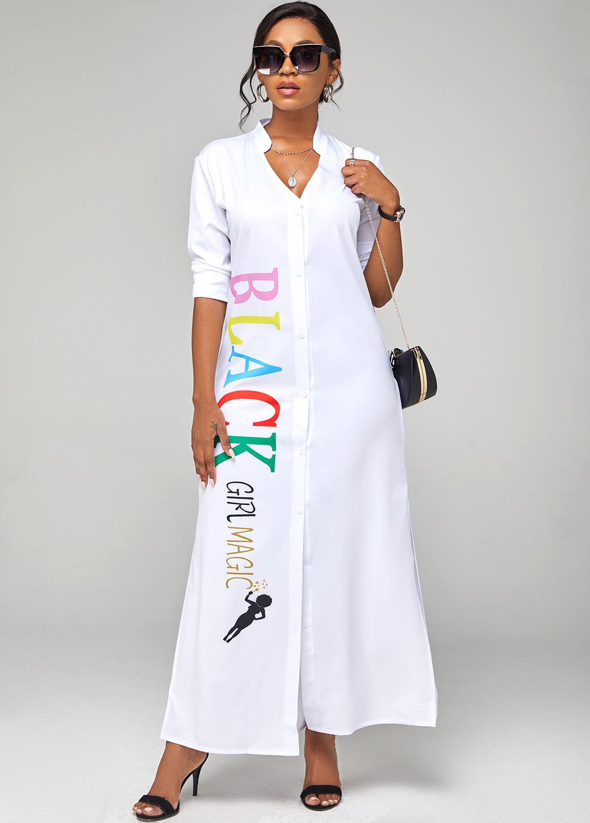 Side Slit Letter Print Long Sleeve Dress