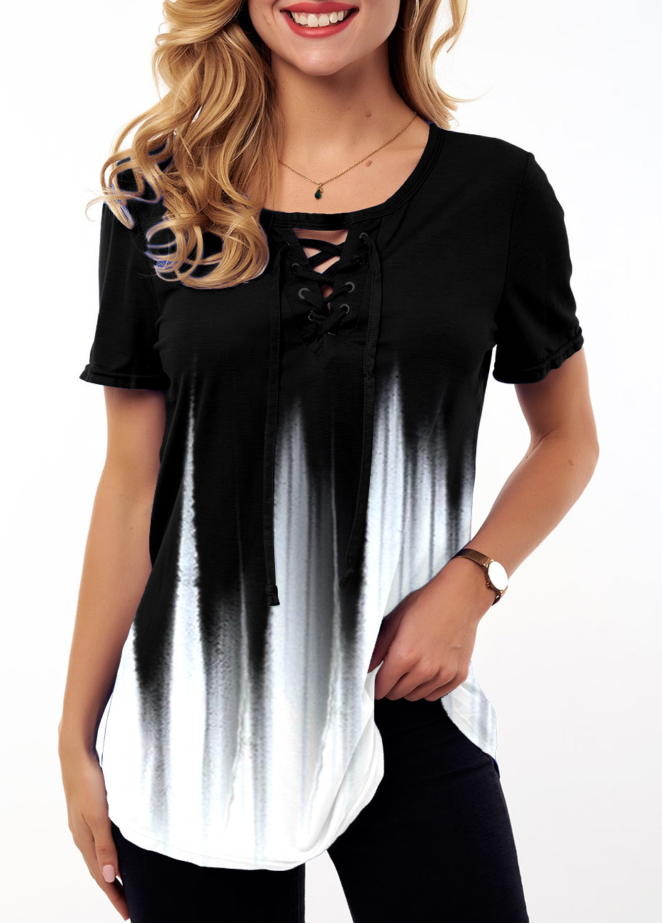 ROTITA Lace Up Ombre Short Sleeve T Shirt