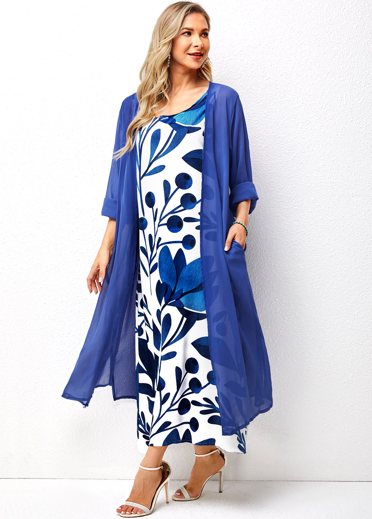 Solid Cardigan and Round Neck Sleeveless Floral Print Dress