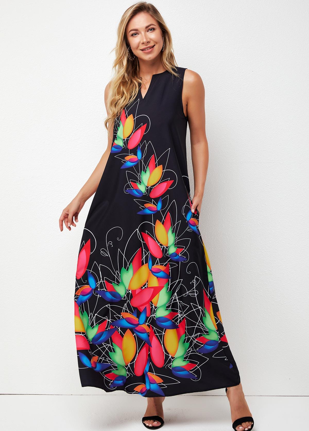 V Neck Printed Sleeveless Maxi Dress