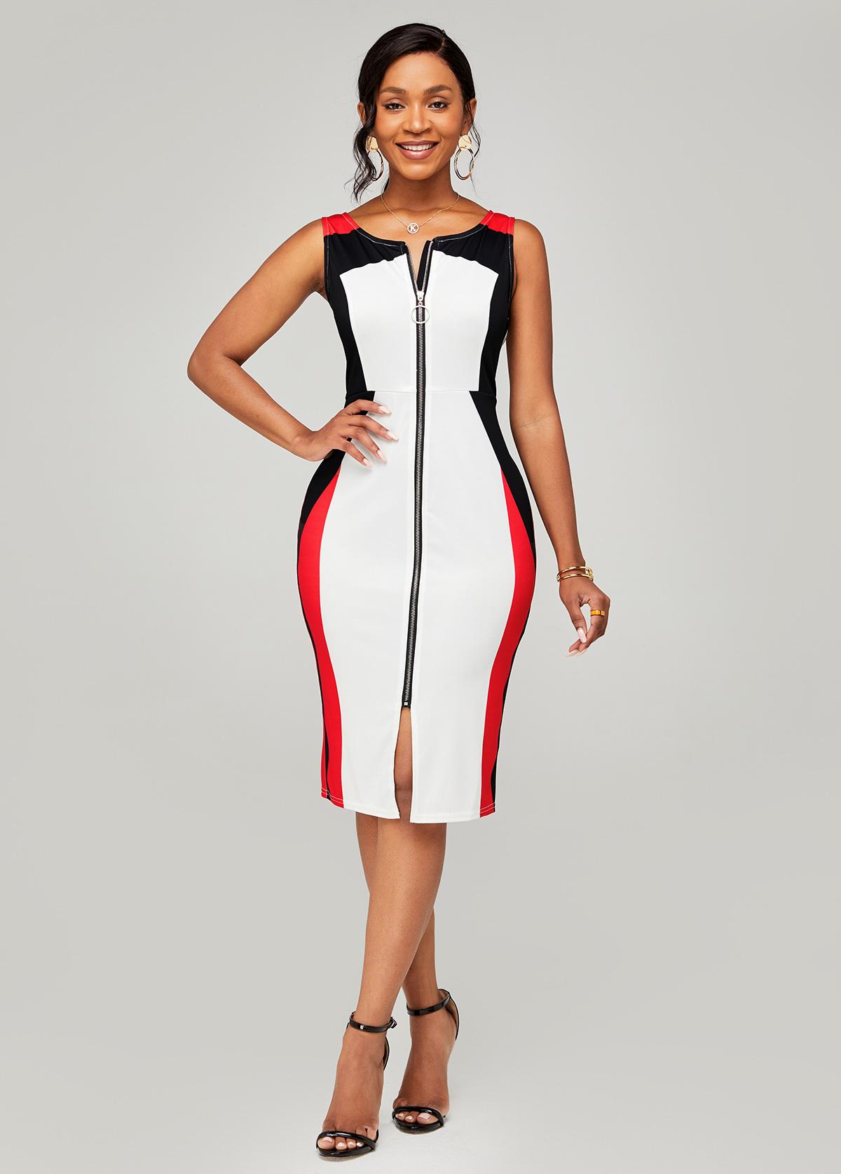 ROTITA Zipper Closure Color Block Sleeveless Dress