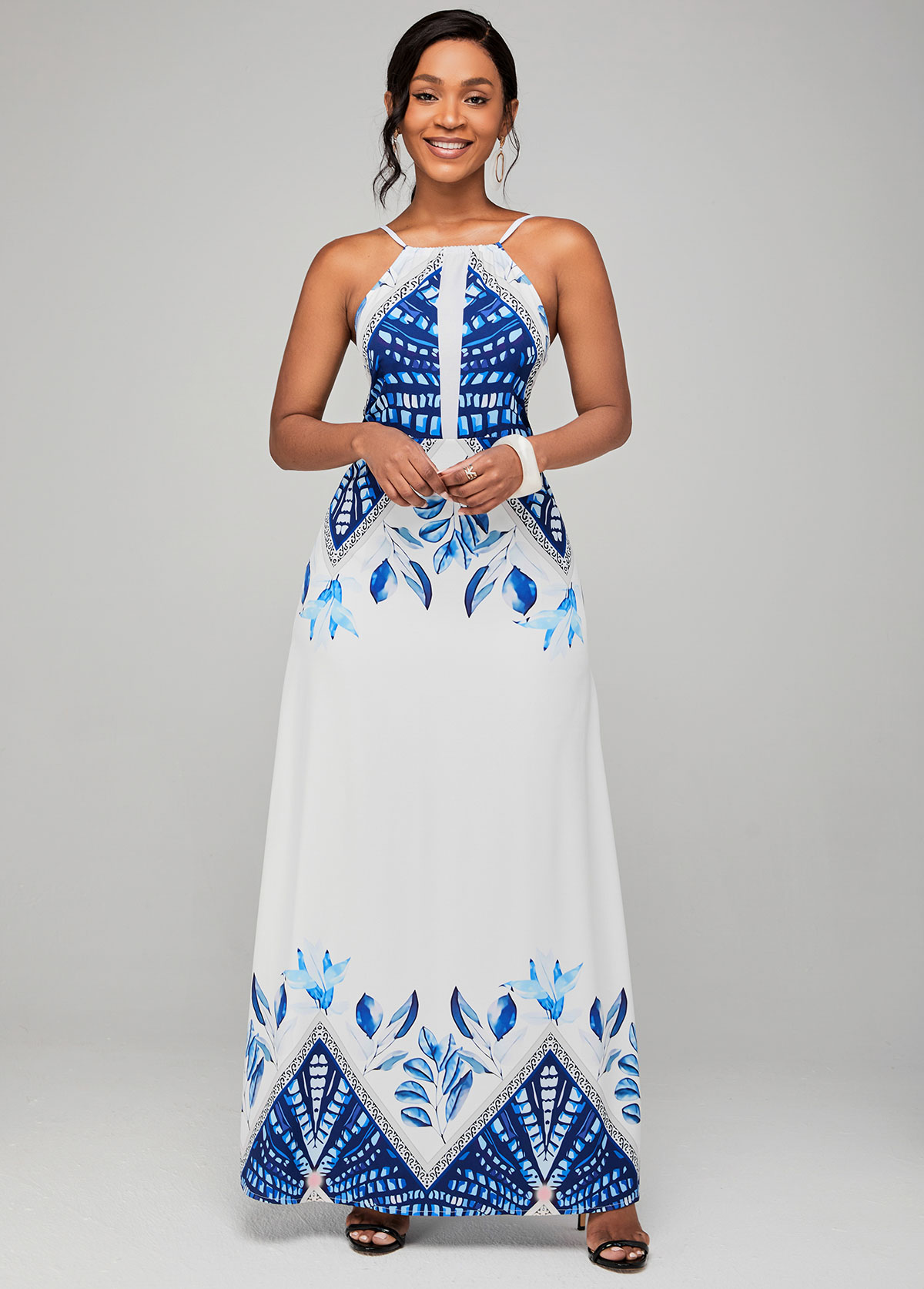 ROTITA Spaghetti Strap Tribal Print High Waist Dress