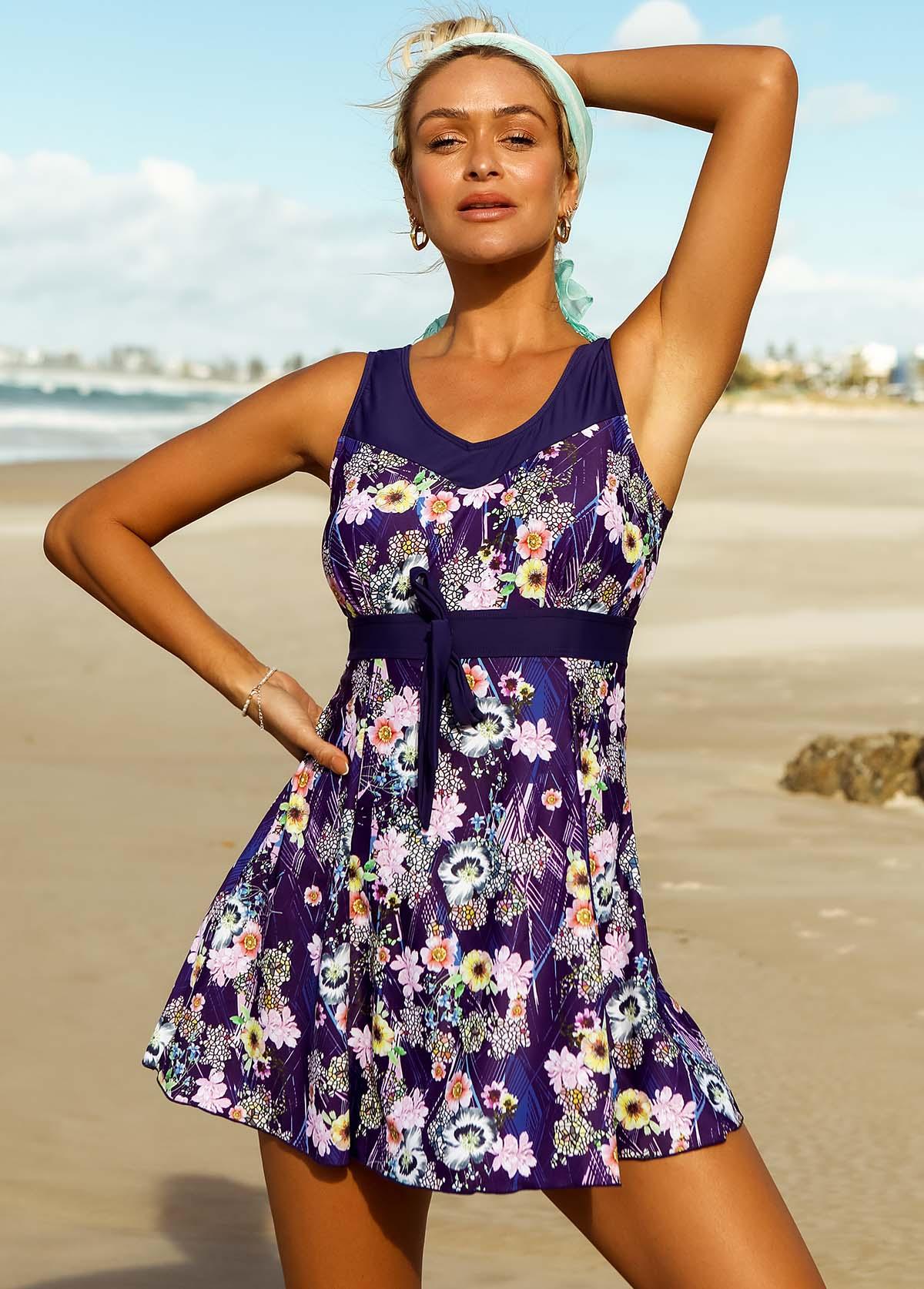 ROTITA Wide Strap Floral Print Swimdress and Shorts