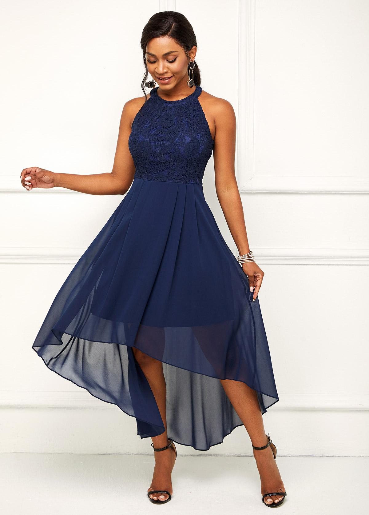 Asymmetric Hem Bib Neck Lace Stitching Dress