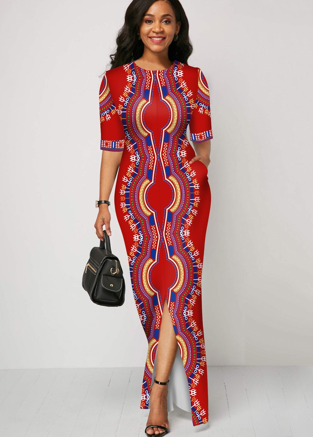 ROTITA Half Sleeve Dashiki Print Round Neck Dress