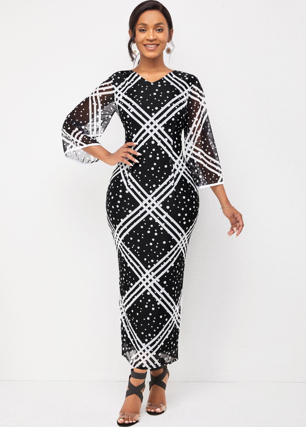 ROTITA Striped and Polka Dot V Neck Flare Sleeve Dress