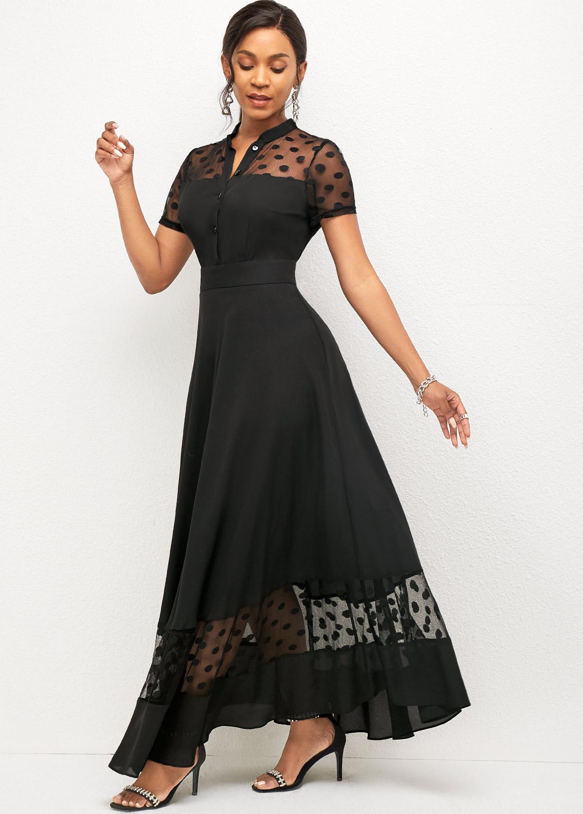 ROTITA Mesh Stitching Polka Dot Short Sleeve Dress