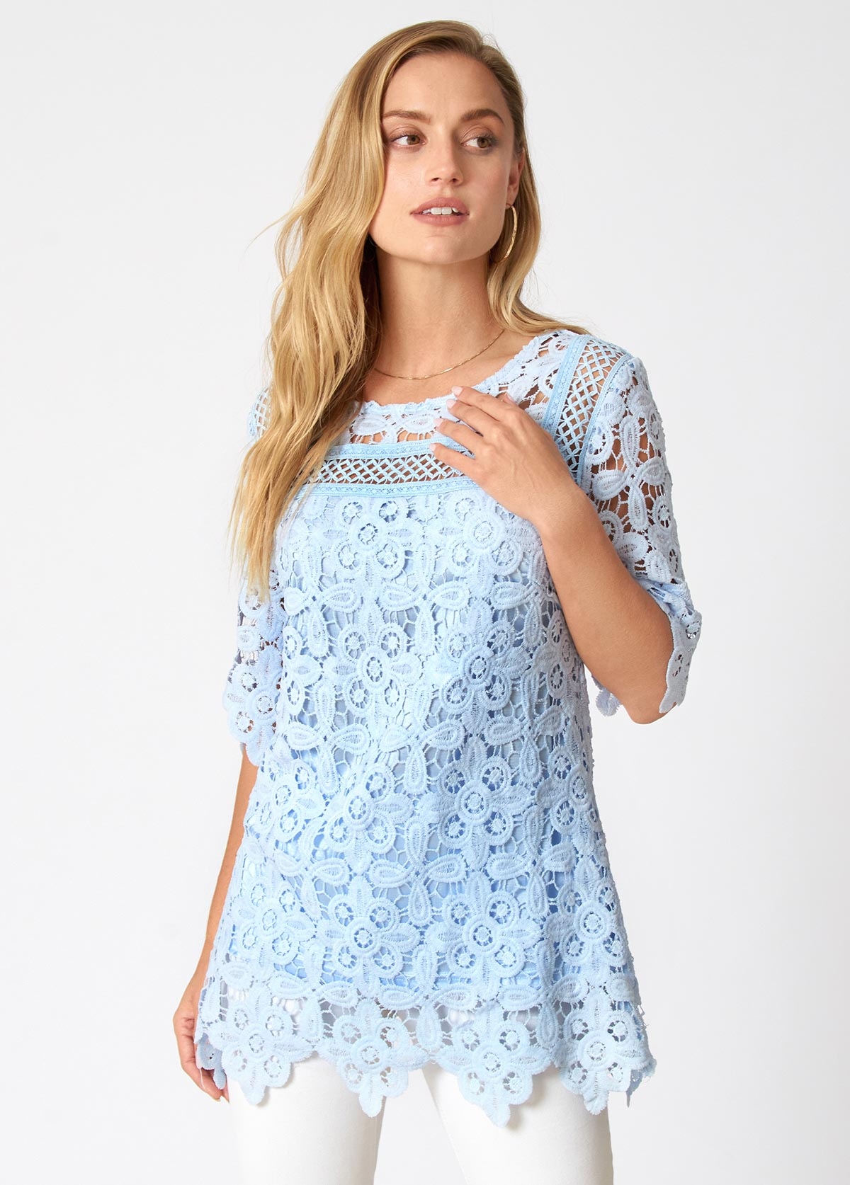 ROTITA Round Neck Lace Stitching Asymmetric Hem Blouse