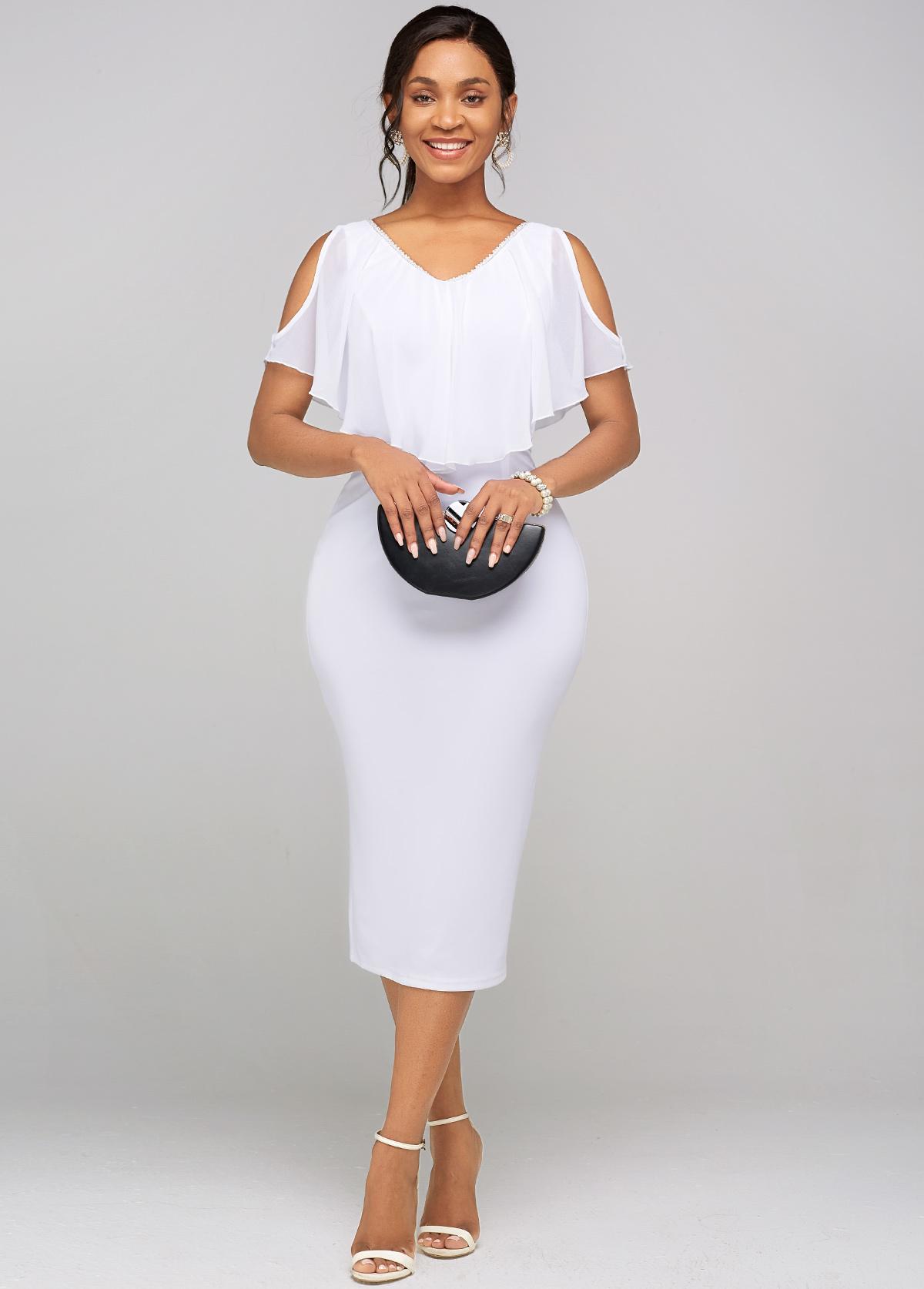 ROTITA Cape Sleeve Chiffon Cold Shoulder Dress