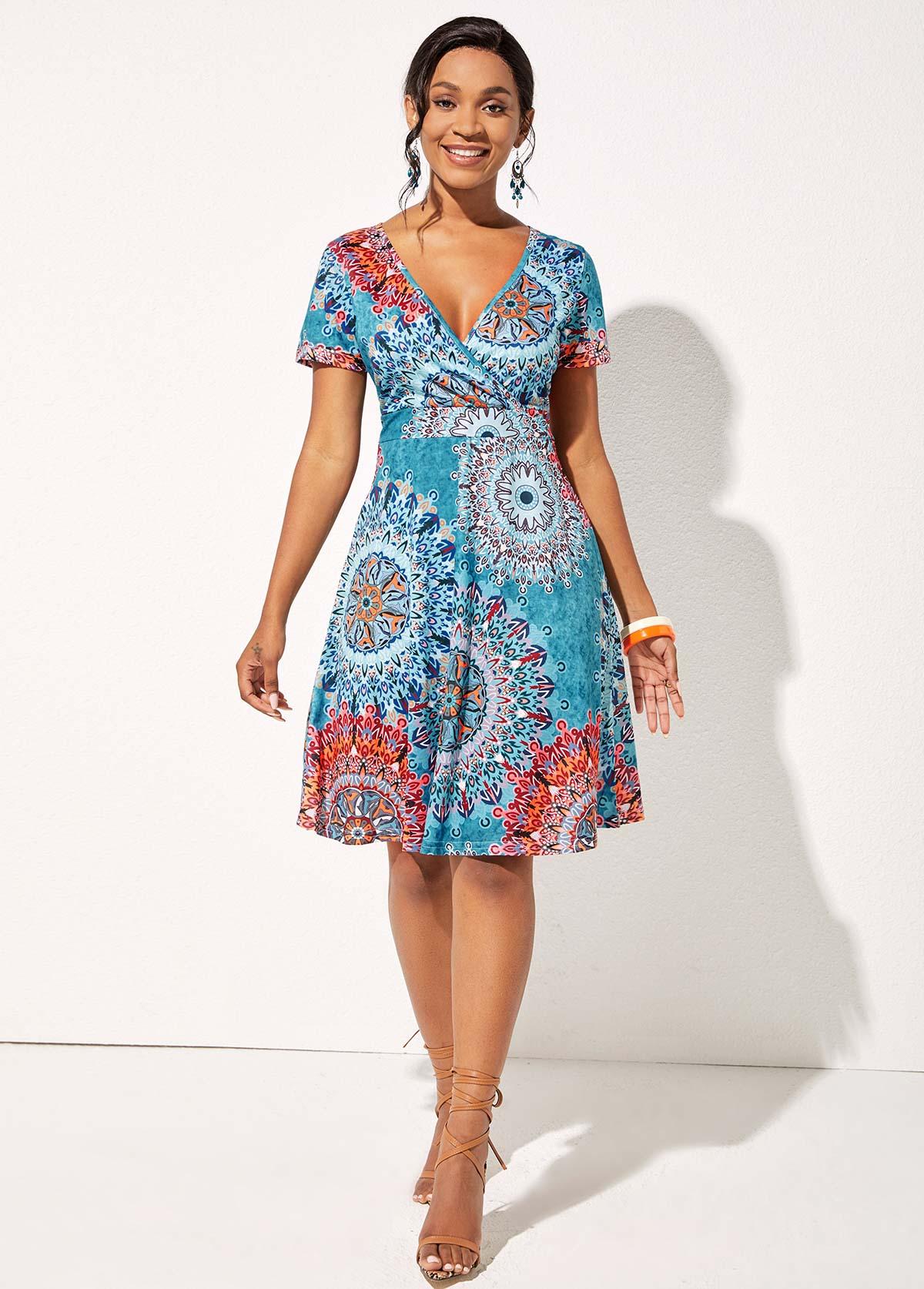V Neck Tribal Print Short Sleeve Dress