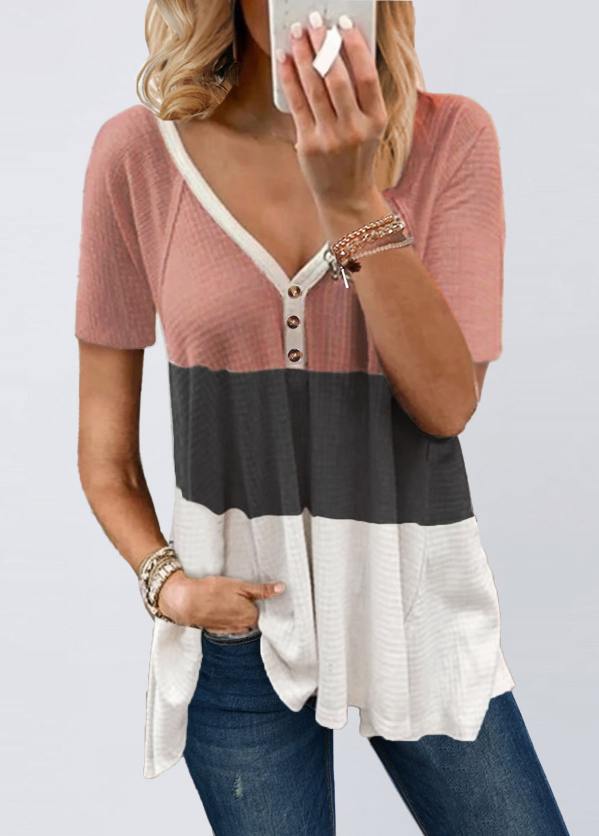 V Neck Contrast Short Sleeve T Shirt