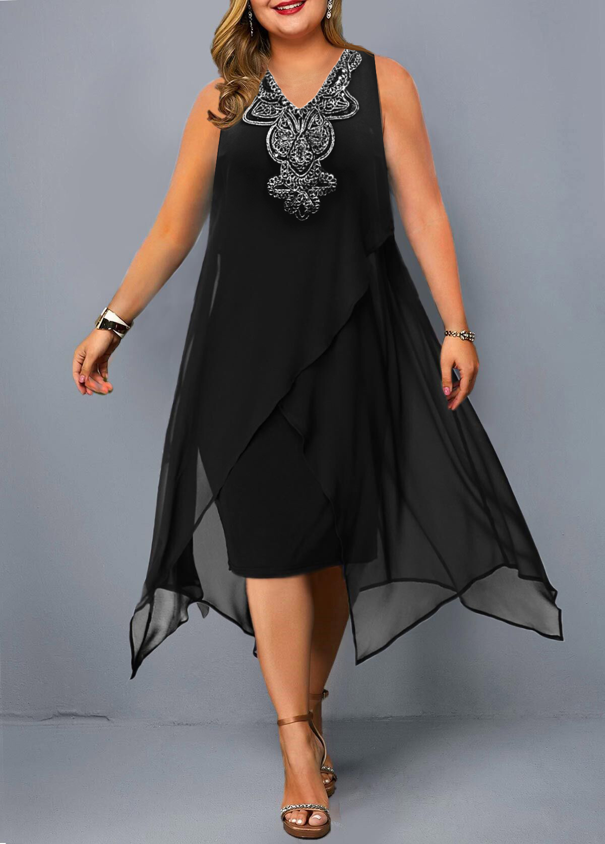 ROTITA Embellished Neck Plus Size Sleeveless Dress