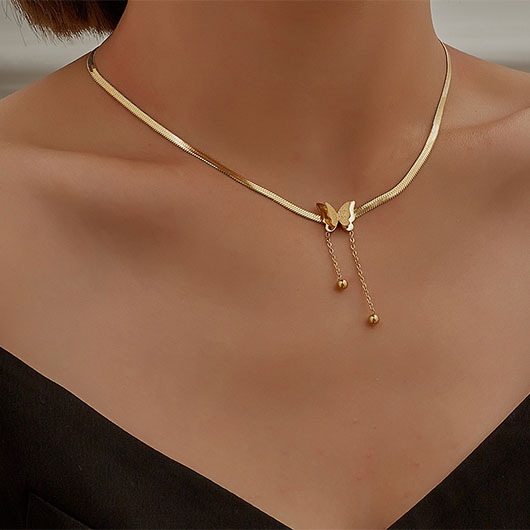 Gold Butterfly Design Snake Bone Chain Necklace