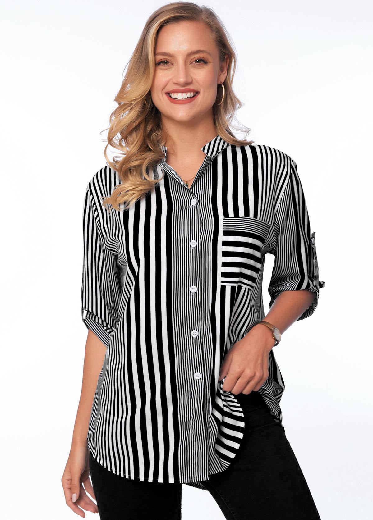 Pocket Turndown Collar Striped 3/4 Sleeve Blouse