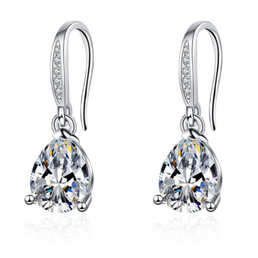 Rhinestone Detail Water Drop Design Silver Earring Set