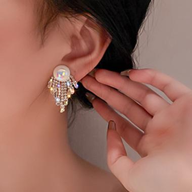 Pearl Design Rhinestone Detail Tassel Earring Set