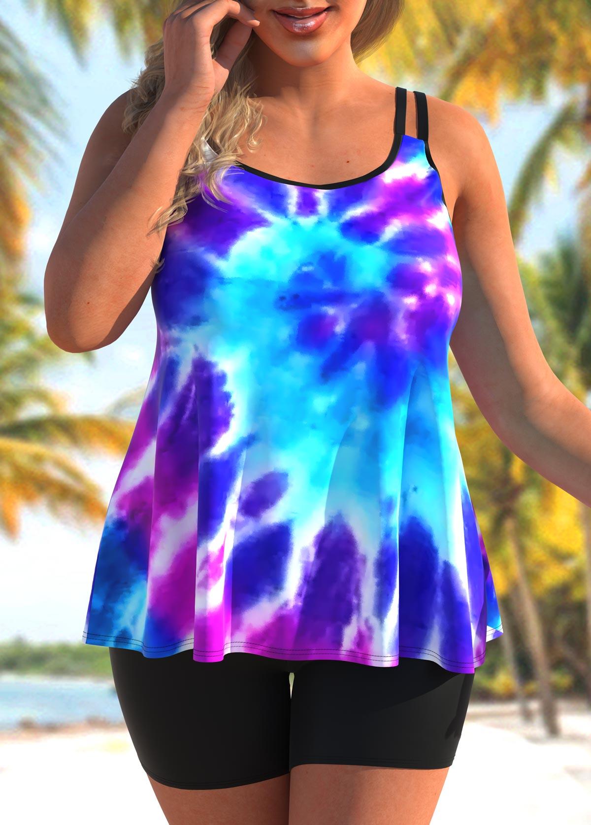 ROTITA Tie Dye Print Plus Size Double Straps Tankini Set