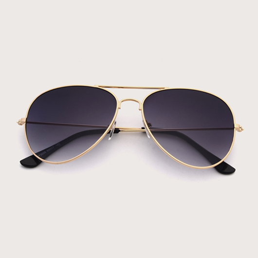 Black Metal Detail Butterfly Frame Sunglasses