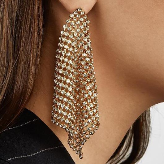 Hollow Out Rhinestone Design Metal Detail Earring Set