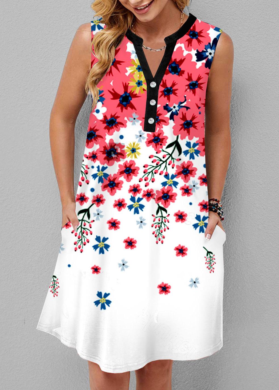 ROTITA Pocket Floral Print Split Neck Dress