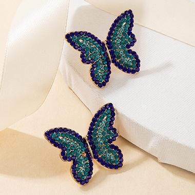 Rhinestone Detail Butterfly Design Metal Earring Set