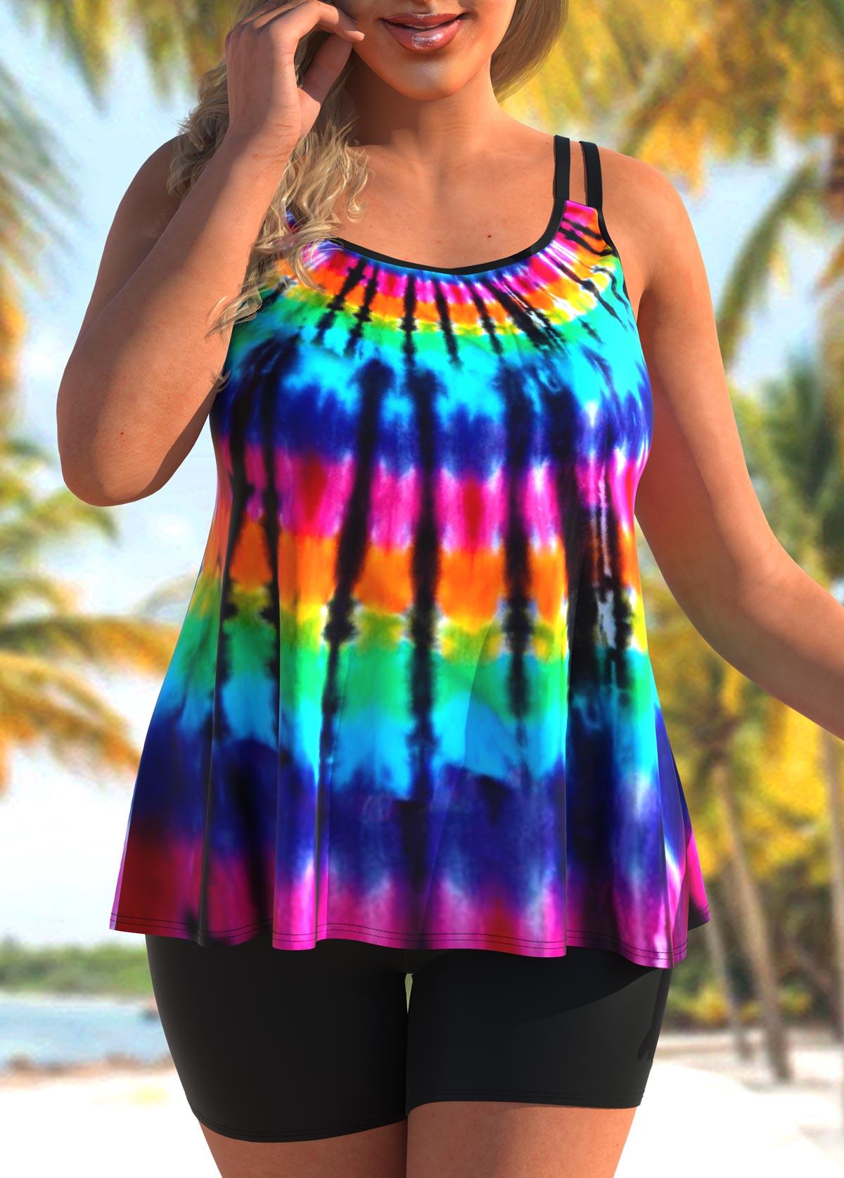 ROTITA Rainbow Color Plus Size Tie Dye Print Tankini Set