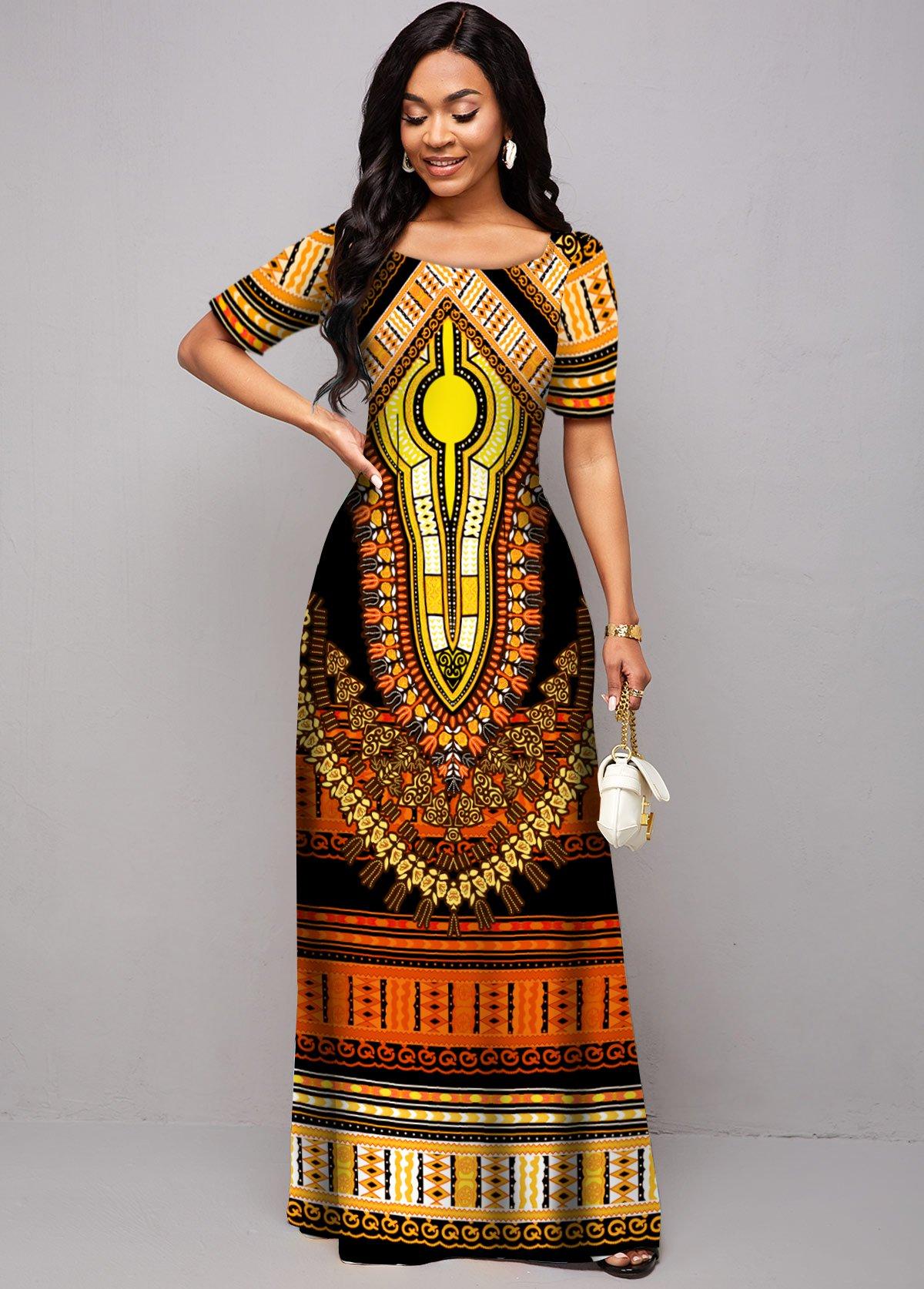 ROTITA Round Neck Tribal Print Short Sleeve Dress
