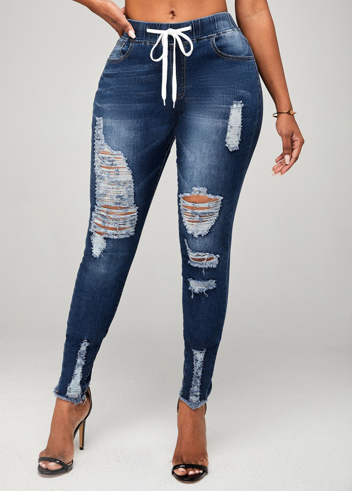 Mid Waist Shredded Skinny Drawstring Detail Jeans