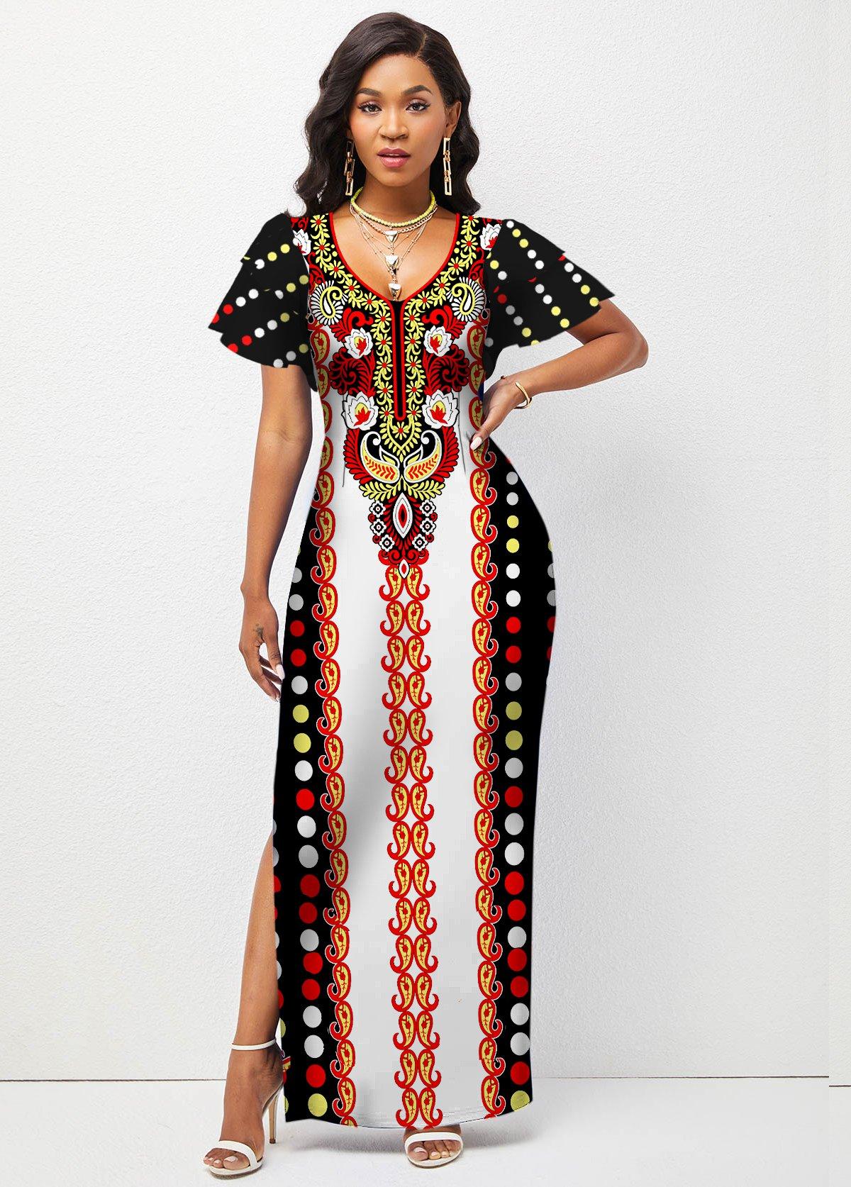 ROTITA Tribal Print Ruffle Sleeve Side Slit Dress