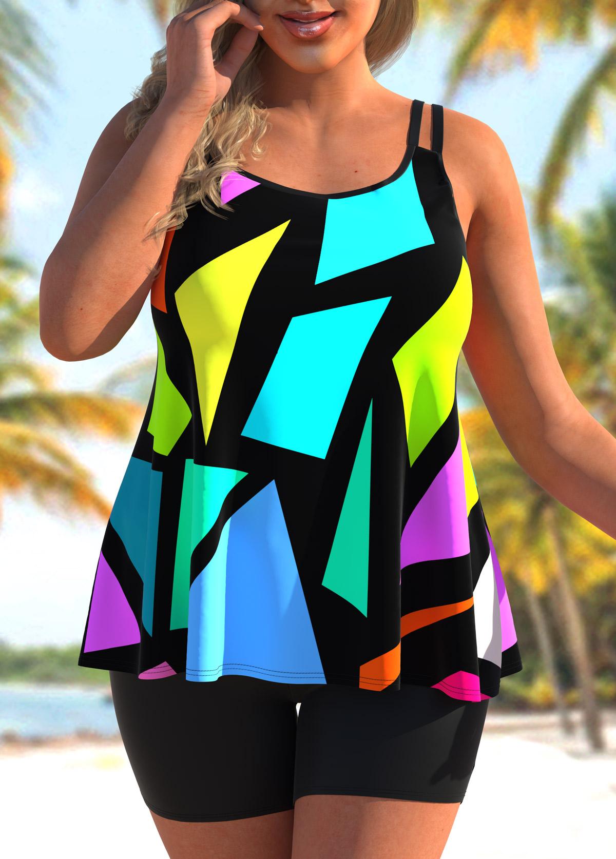 ROTITA Plus Size Colorful Geometric Print Tankini Set