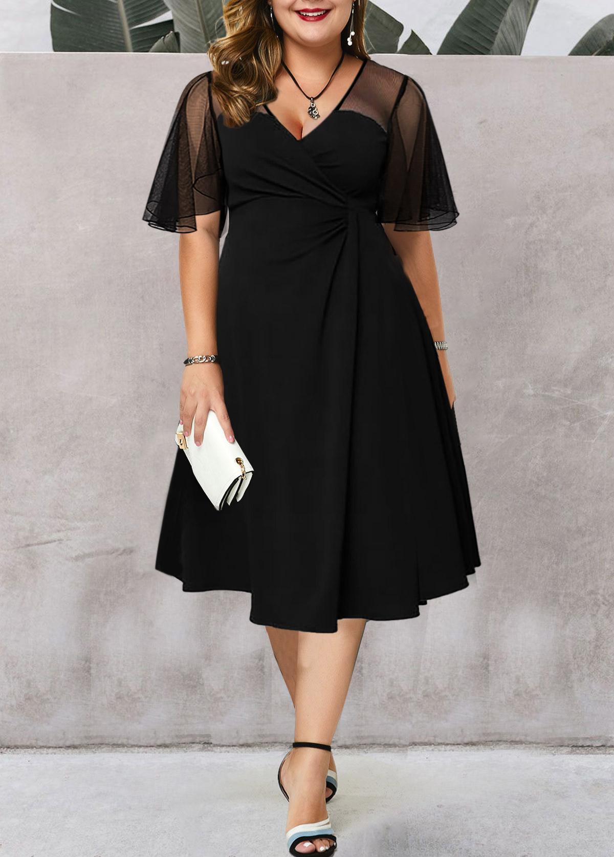 ROTITA Mesh Stitching Plus Size Short Sleeve Dress