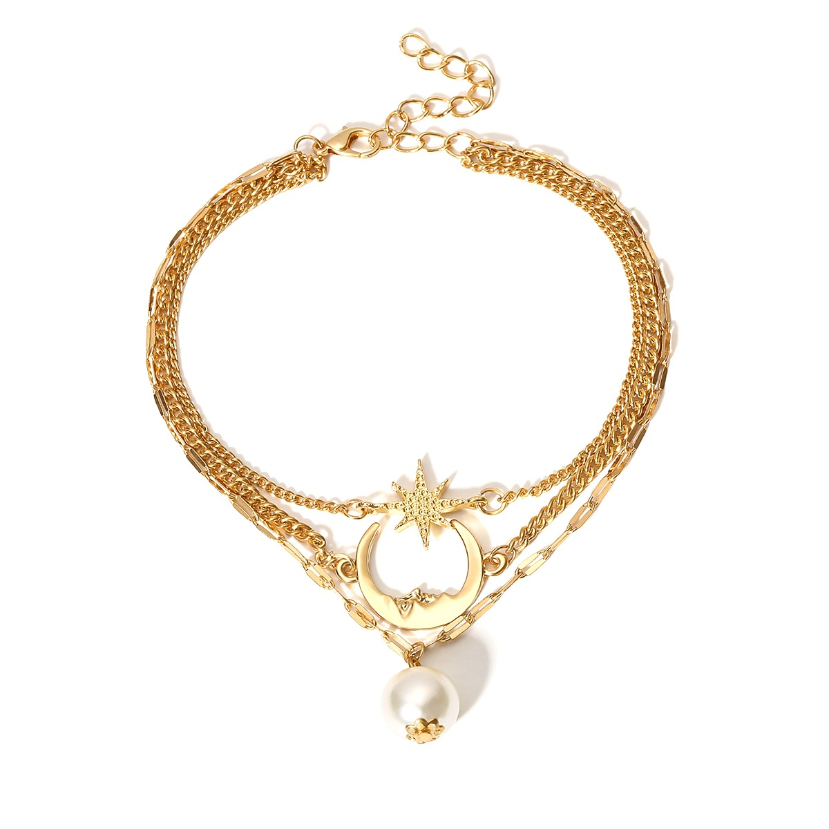 Layered Detail Pearl Design Gold Anklet