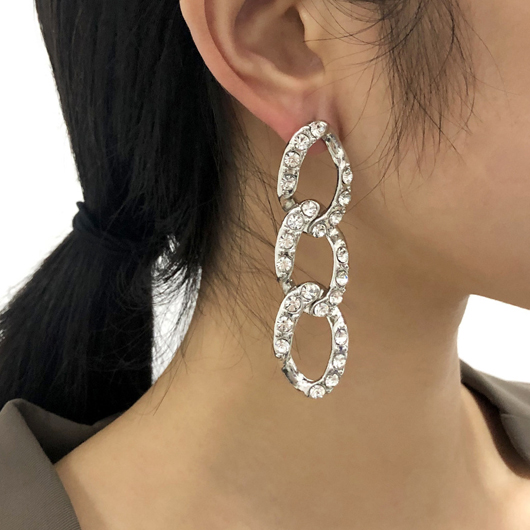 Chain Detail Rhinestone Design Silver Earring Set