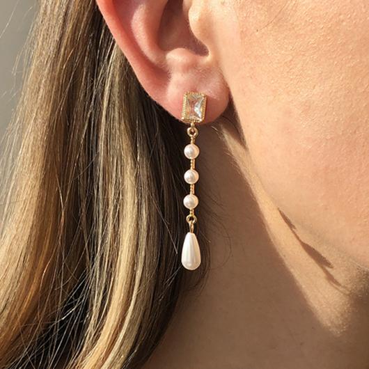 Rhinestone Pearl Metal Detail Earring Set