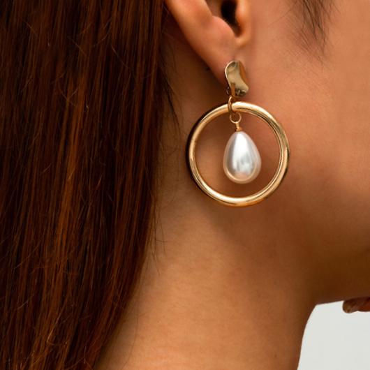 Gold Retro Pearl Detail Metal Earring Set
