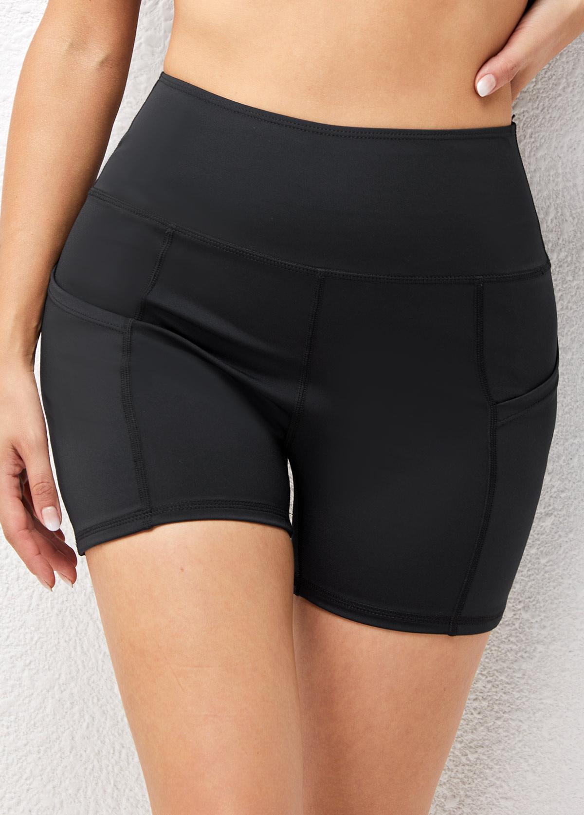 ROTITA High Waisted Pocket Skinny Solid Sports Bottom
